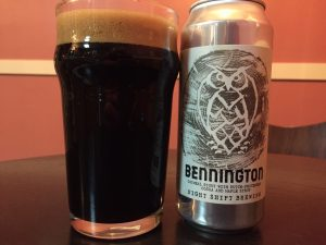 Night Shift Brewing, Bennington Oatmeal Stout poured into a nonic pint glass
