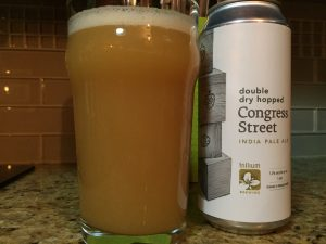 Double Dry Hopped Congress Street IPA poured into a nonic pint glass.