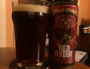 La Cumbre Red Ryeot Rye Ale poured into a nonic pint glass.