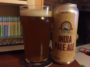 Medford Brewing Company IPA poured into a nonic pint glass