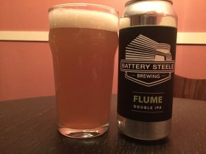 Battery Steele Flume Double IPA poured into a nonic pint glass.