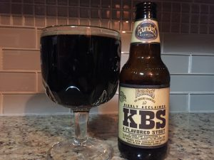 Founders Brewing Company, Kentucky Bourbon Stout poured into a beer chalice.