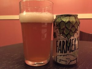 Fort Hill Brewery, Farmer's Fresh IPA poured into a nonic pint glass.