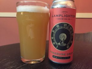 Lamplighter Pressure Drop Pale Ale poured into a nonic pint glass.