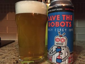 Radiant Pig, Save the Robots East Coast IPA poured into a nonic pint glass.